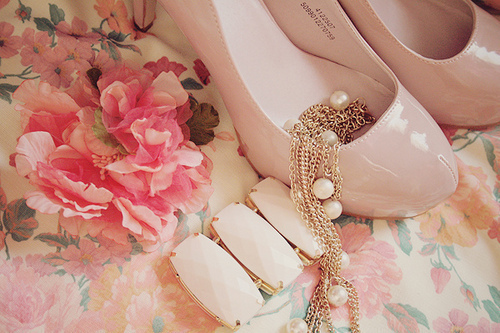 beautiful, braclet, chic, cute, elegant, fashion, floral, flower, pink, pretty, rose, shoes
