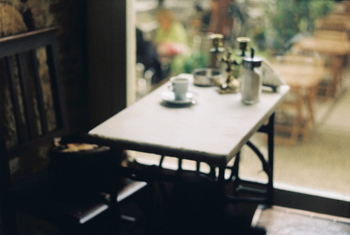 beautiful, brown, cafe, chair, coffee, coffee shop, desk, green, hipster, indie, nature, photo, photography, seat, wood