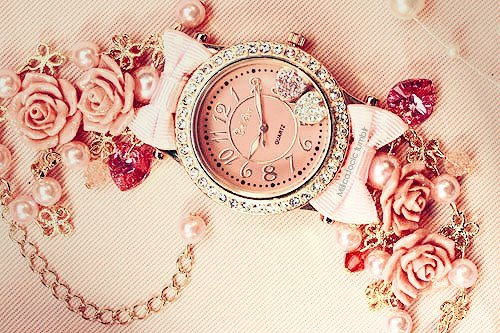 beautiful, clock, gold, heart, nice, pink, rose, watch