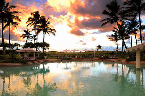 beautiful, hotel, luxury, palm trees, place, pool, sunset