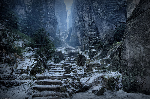 beautiful, mountain, photo, photography, rocks, scary, snow, stairs