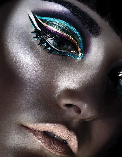 beauty, color, eyes, fashion, glowing, makeup, metallic, rainbow