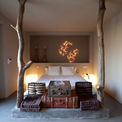 bed, bedroom, chique, cozy, hipster, lights, room, style, suitcase, trees, vintage, wood