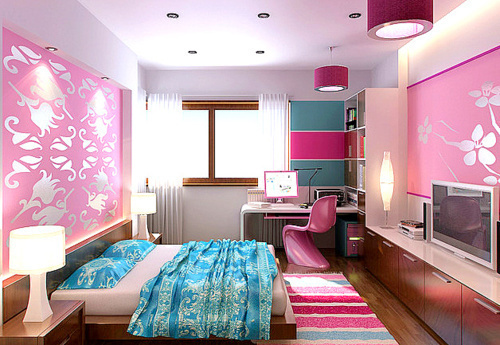 bed, bedroom, cute, girly, pink