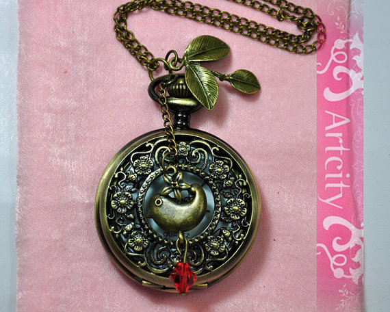 bird, clock, cute, etsy, pendant