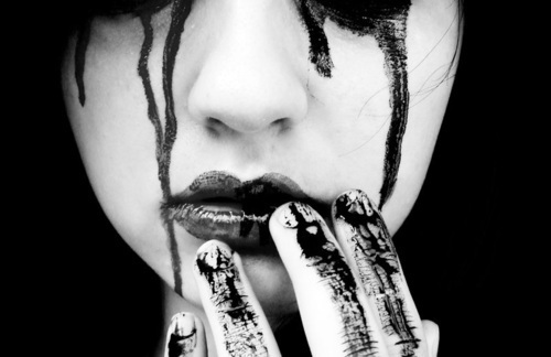 Fashion Shoot Shows Models Beaten Bloody: Black And White, Blood, Girl, Lips, Makeup