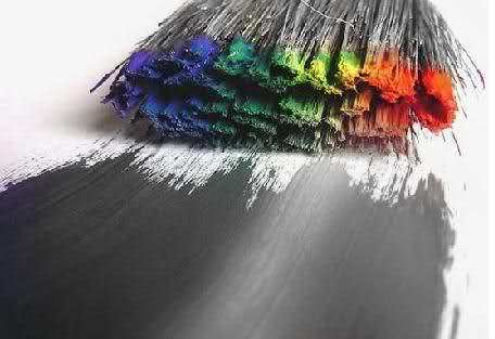black and white, brush, colour, colour splash, macro, photography, rainbow