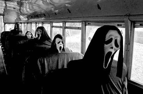 black and white, bus, creepy, funny, gore