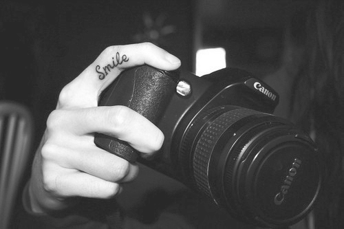 black and white, camera, canon, canon camera, photography, smile