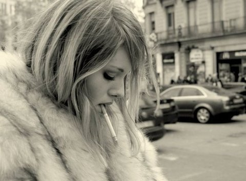 black and white, cigarette, city, fashion, girl, hair, make-up, pretty, street