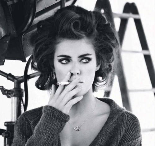 black and white, cigarette, hair, model, photography