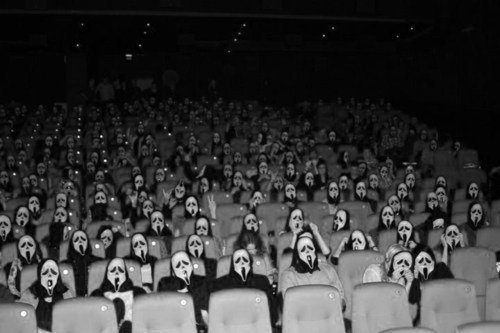 black and white, cine, dark, fear, masks