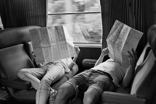 black and white, couple, love, photo, train, travel