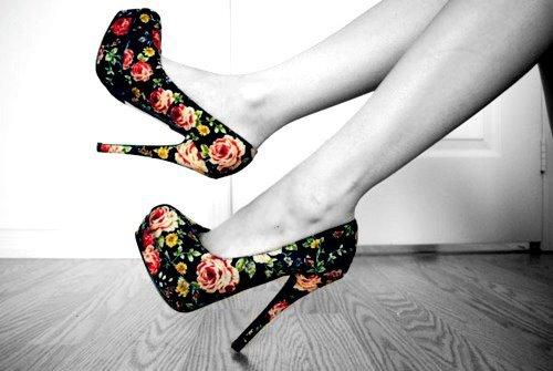 black and white, cute, fashion, flowers, heels, high heels, shoes