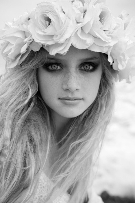 black and white, flowers, freckles, girl, hair