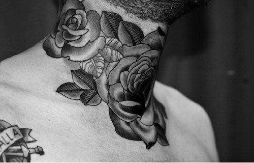black and white, ink, inked, neck tatoo, tattoo, tattoos