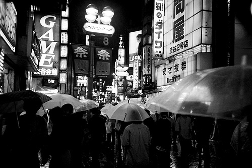 black and white, japan, people, rain, street