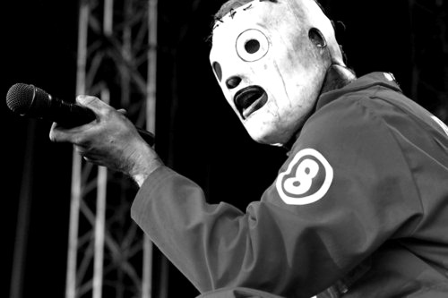 black and white, masks, show, slipknot