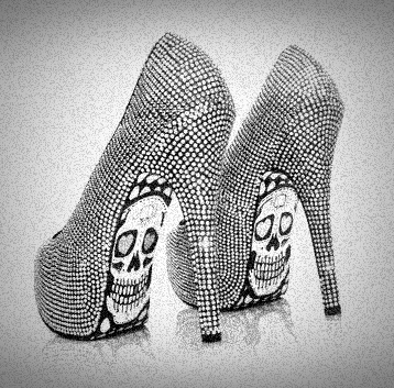 black, black and white, fashion, girly, gray, grey, heels, high heels, rock, shoes, skull, skulles, white