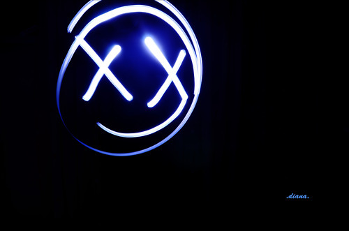 black, blue, dark, freezelight, light, light painting, photography, smiley