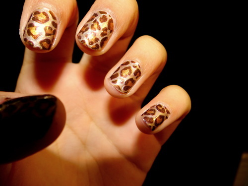 black, brown, cats, cheetah, cheetah print, fashion, gold, hand, love, nail polish, nails, pretty