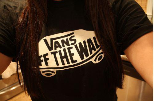black, cute, girl, hair, skate, t-shirt, vans, vans od the wall, woman
