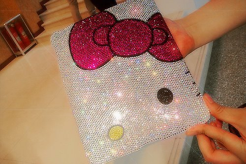 bling, book, computer, fashion, hello kitty, kollada, laptop, mac, shiny, sparkling, style