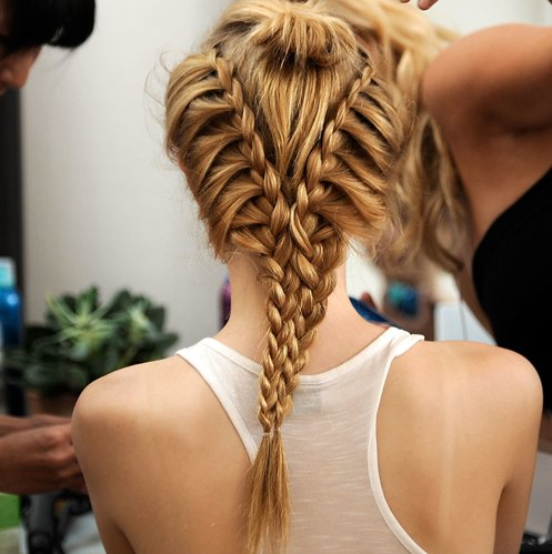 blonde, blonde hair, braide, braide tail, fashion, fish tail, girl, hair, hairstyle