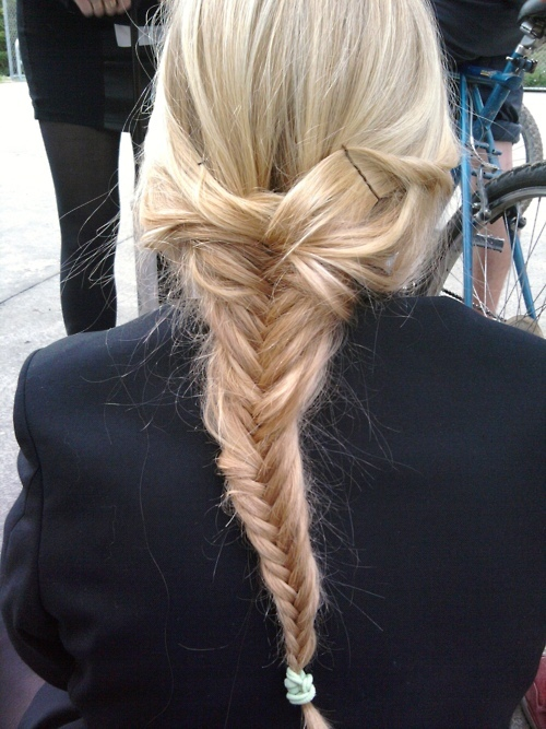 blonde, braid, cute, fishtail, fishtail braid, fishtail plait, girl, hair, hairstyles, model, plait