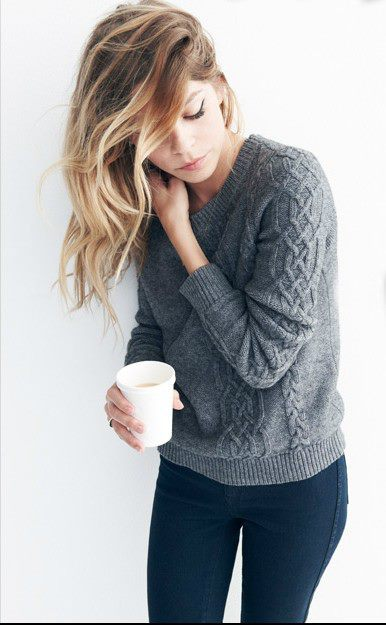 blonde, coffee, cute, fashion, girl, hair, nice, sweater