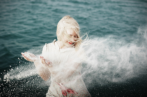 blonde, lake, mist, ocean, soft, splash, spray, water, woman