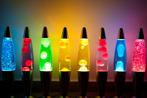 blue, colorful, cool, cute, green, lamp, lava lamp, lights, orange, pink, yellow