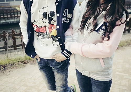 blue cute couple letterman jacket matching pink