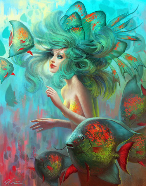 blue, cute, draw, drawing, mermaid, underwater, water