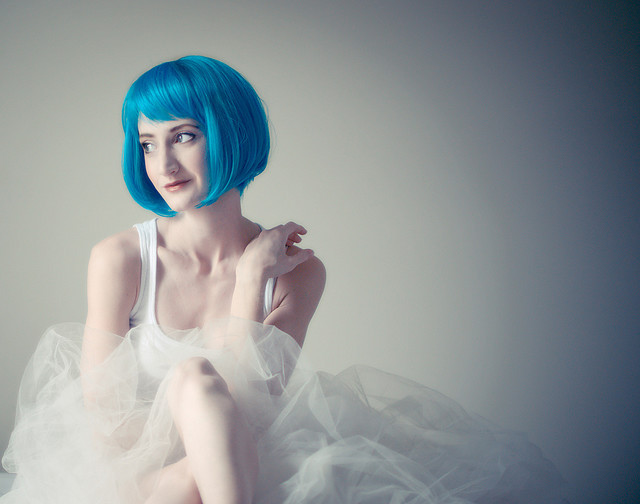 blue hair, cute, dress, fashion, girl