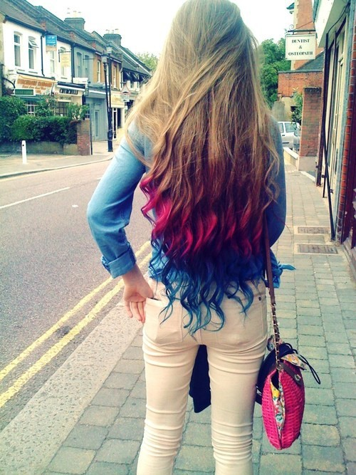 blue hair, cute, girl, hair, photography, pink hair, smile, street