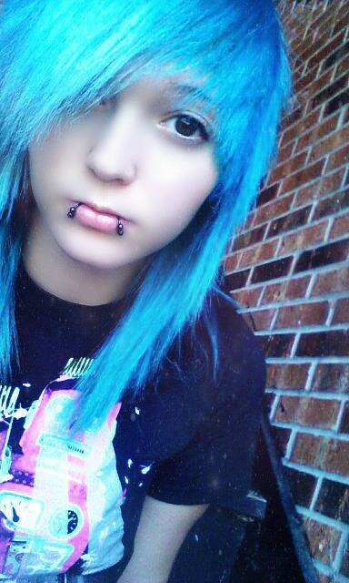 blue hair, flawless, gimp, piercings, site model