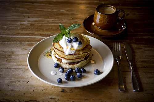 blueberries, breakfast, delicious, food, pancakes