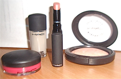 blusher, gloss, lipstick, mac, makeup, nail polish