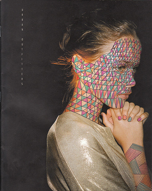 body art, brunette, drawing, face paint, geometric