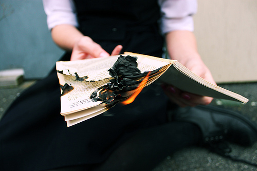 book, burn, fire, pale, vintage