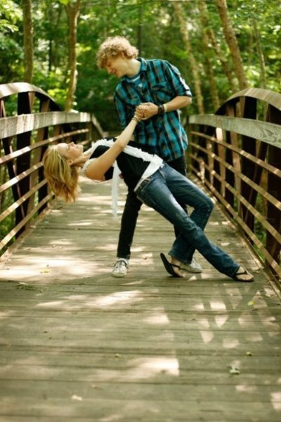 boy, bridge, flip flops, girl, love, photogrpahy, romance, woods