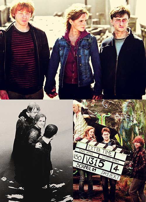 boy, cute, daniel radcliffe, emma watson, forever, fun, girl, golden trio, harry potter, love, lovely, rupert grint