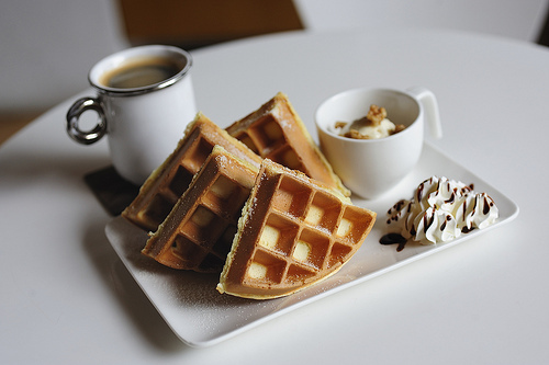 breakfast, chocolate sauce, cream, food, photography, waffles