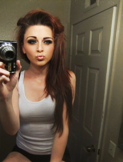 brown hair, camera, cute, girl, grey