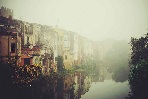 buildings, city, mist, nature, water