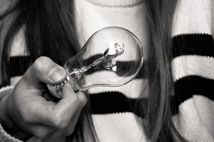 bulb, girl, light bulb, stripes, sweater
