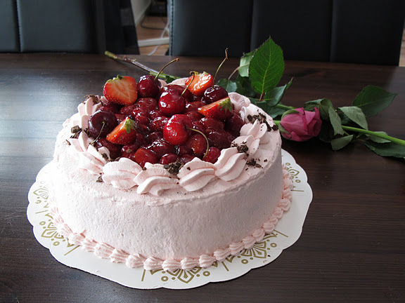 cake, cherries, cherry, food, pink, rose, strawberries, strawberry