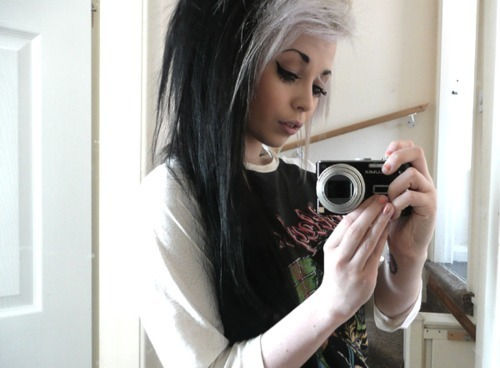 camera, colored hair, dark hair, dyed hair, girl, white hair