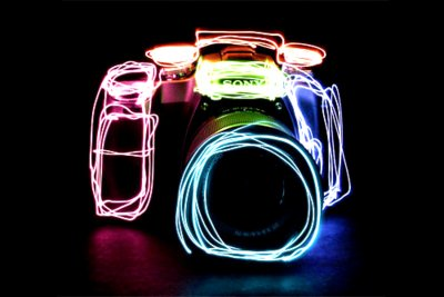 camera, colorful, light, neon, sony